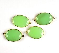 4 Pcs Aqua Chalcedony Faceted Bail Bezel Set 24k Gold Plated Connector Jewelry