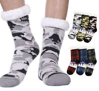 3 Pack Of Men's Christmas Winter Warm Sherpa-Lined Slipper Socks with Gift Tags