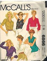 6866 Vintage McCalls Sewing Pattern Misses Buttoned or Pullover Blouse Top Shirt