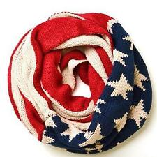 Chunky Knitted Infinity Loop Circle Scarf USA Flag Scarf