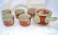 Vintage Ceremonial Japanese Satsuma Kutani Gold Iron Red Tea Set  - HAND PAINTED