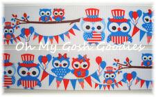 1.5 FLAG BANNER PATRIOTIC OWLS HOOT USA FLAG JULY GROSGRAIN RIBBON 4 HAIRBOW BOW
