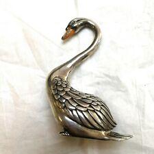 Sterling Silver Italy Swan figurines with Enamel beak.