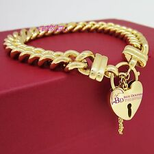 Heavy Solid Womens Mens 18ct Yellow Gold GF Bracelet Bangle Chain Heart Padlock