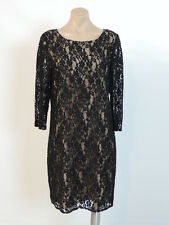 DKNY Black Lace 3/4 Sleeves Shift Coctail Dress 12 NEW