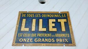 Plaque tole publicitaire ancienne Lilet Quinquina
