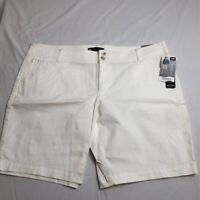 Lee Womens Bermuda Walking Shorts White Stretch Mid Rise Pockets Petites 16P New
