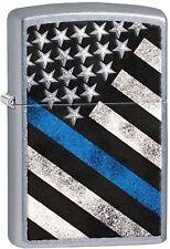 Zippo Blue Line Flag Street Chrome Finish Windproof Pocket Lighter 29551 NEW