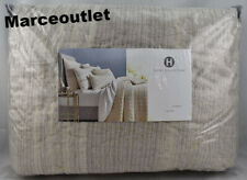 Hotel Collection Honeycomb Stripe Full / Queen Quilted Coverlet Oatmeal