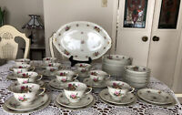 MEITO - Ivory China -Made in Occupied Japan - GARDEN ROSE -Desserts Set. -59 Pc.