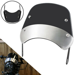 Front Windshield Windscreen For Yamaha Honda Motorcycle 5 & 7'' Round Headlight