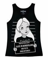 Twisted Punk Disney Alice In Wonderland Mug Shot Tattoo Vest Top emo gothic
