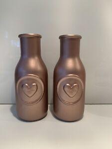 Hand Painted Heart Vase Set Of 2 Metallic Champagne