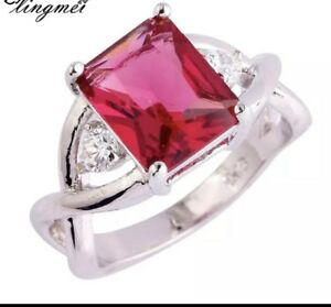 925 Sterling Silver Red Garnet Engagement Ring 10 Women's January  Birthday