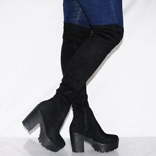 Fusion Koi Couture Women's UK 4 Over The Knee Black Stretch Fit Tall Boots