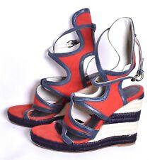 9b4a1d82aad BALENCIAGA Espadrille Canvas Gladiator Crossover Wedge Sandal (Sz 38 8)  Red Blue