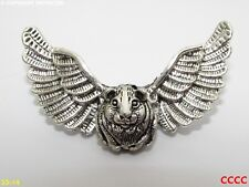 Steampunk brooch badge pin silver owl wings guinea pig hamster Harry Potter