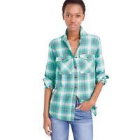J.Crew Womens Boyfriend Shirt in Emerald Green Plaid Cotton Button Up Top Size 6