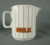 Hornsea Milk Jug, White with Red Lines, Clappison Design, 12cm Tall
