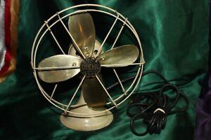 """Vintage 9"""" Diehl No. 29511 Brass Blade Oscillating One Speed Fan- Works Well"""
