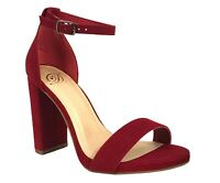 Delicious Womens Shiner Open Toe Ankle-Strap High Heeled Sandals