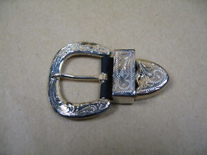Silberbeschläge Halfter Schnallen Set ohne Rand Gürtelschnalle No. 834