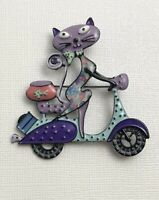 Vintage style artistic Cat on scooter brooch in enamel on metal