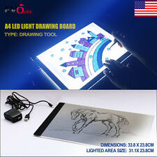 LED Tracing Light Box Board Artist Tattoo Drawing Pad Table Stencil & US Adapter