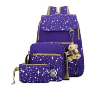 3 x Casual Women Girls Travel Canvas Backpack Rucksack School Shoulder Bags Cute