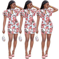 Women ruffled sleeves floral print bodycon club party casual mini dress