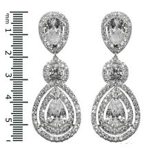 GLITZY PAVE CLEAR HALO TEARDROP CUBIC ZIRCONIA CHANDELIER EARRINGS 57MM