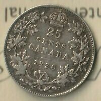 1920 Canada King George 25 Cents- 80% AG - ICCS: VF-30- Beauty
