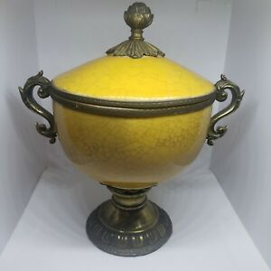 Vintage Dominic Crackle Vase / Compote w/ Lid Mustard Yellow Great Condition!