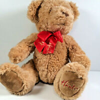 """Hamleys Teddy Bear Brown Soft Toy Plush Red Ribbon Cuddly 12"""" In Seated Position"""