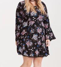 Torrid Floral Challis Bell Sleeve Dress Black 1X 14 1 #84331