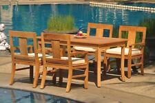 "5pc Grade-A Teak Dining Set 60"" Rectangle Table 4 Osborne Arm Chair Outdoor"