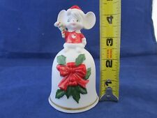 Christmas Bisque/Porcelain Christmas Bell With Mouse On Top F/S