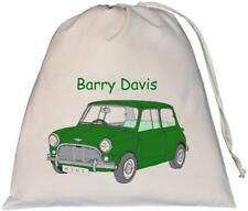 Personalised - Dk Green Mini Car - Large Natural (Cream) Cotton Drawstring Bag