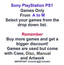 Sony Playstation ps1 Spiele nur-wählen Sie Spiele aus dem Dropdown-A bis M Liste