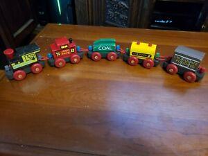 The Montgomery Schoolhouse Midget Railway 5 Car Wooden Train Set, Made in VT