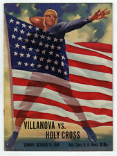 1944 VILLANOVA Holy Cross COLLEGE FOOTABLL PROGRAM NCAA WWII Worcester MASS MA