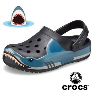 Kids Funlab Boys Shark Crocs Slip On Sandals Slides Size 11c Brand New 11 C