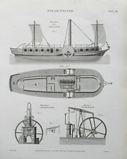 1820 LOCOMOTIVA a VAPORE Steamboat maudslay's MURRAY'S antica STAMPA INCISIONE ETR