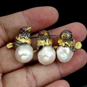 Baroque White Pearl 17x14mm Ruby 925 Sterling Silver Bird Brooch