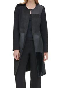 Calvin Klein Women's Jacket Black Size 12 Faux-Leather Mixed-Media $139 #904