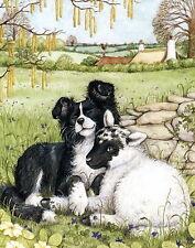 Animal Art Print Rural Farm Yard Barn Dog Border Collie Cuddles Baby Sheep Lamb