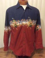 VTG Wrangler Western Rodeo Shirt Red Blue Aztec Bull Rider Long Sleeve Large
