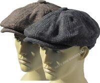 New Tweed herringbone Gatsby Cap Hat Mens Ladies Flat 8 Panel Baker Boy Newsboy