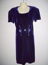 Fashion Bug Womens Size 8 Purple Velvet Layered & Embellished Front Shift Dress