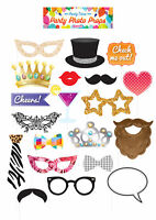 20pc Party Photo Prop Set - Birthday Decoration Picture Booth Selfie Set Wedding